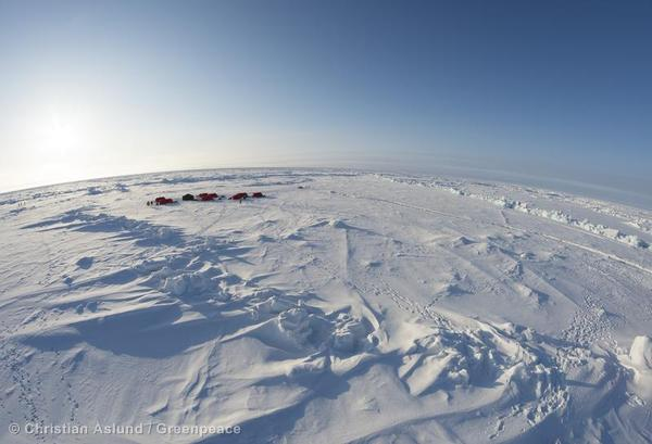 A Greenpeace encampment at the North Pole