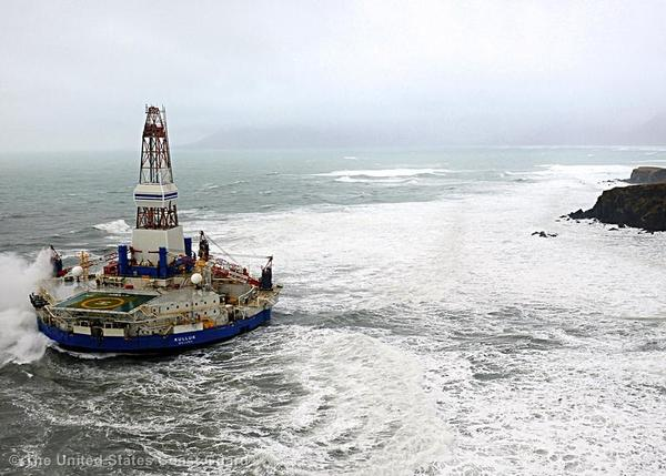 The Shell conical drilling unit Kulluk sits aground on the southeast shore of Sitkalidak Island about 40 miles southwest of Kodiak City, Alaska