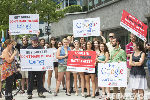 Greenpeace and Forecast the Facts activists engage Google employees outside their office in Washington, D.C. Activists responded to reports that Google is hosting a political fundraiser for climate denier Sen. James Inhofe, R-Okla. Photo by Le Feng / Greenpeace
