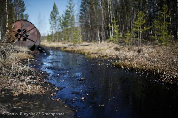 An oil spill at the Rosneft oil field,