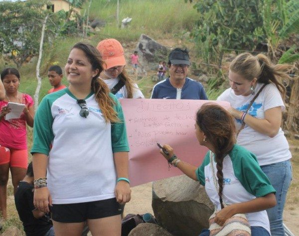 Greenpeace Semester student Sofia Szmirnov working with a community in Panama to build homes.