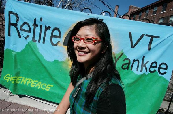 Greenpeace GOT members gather for canvasing instructions on Brattleboro, VT