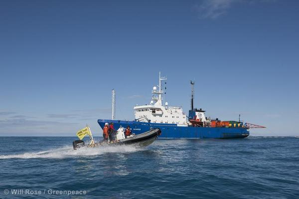 Confronting Russian Seismic Vessel in Barents Sea