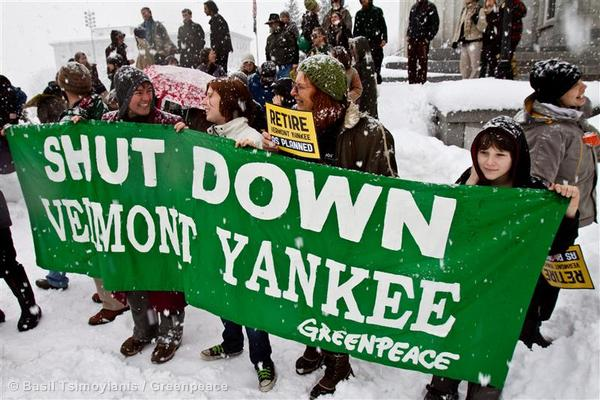 Vermont residents and activists join a Greenpeace rally outside the Statehouse,