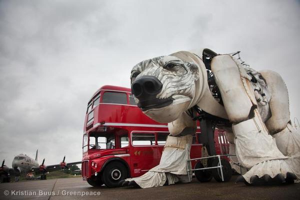 Aurora Giant Polar Bear with London Bus