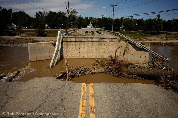 A bridge on Sunset Street is collapsed following record flooding from the St. Vrain River in Longmont.