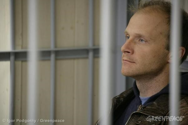 Greenpeace International contracted freelance photographer Denis Sinyakov at the Leninsky District Court Of Murmansk.