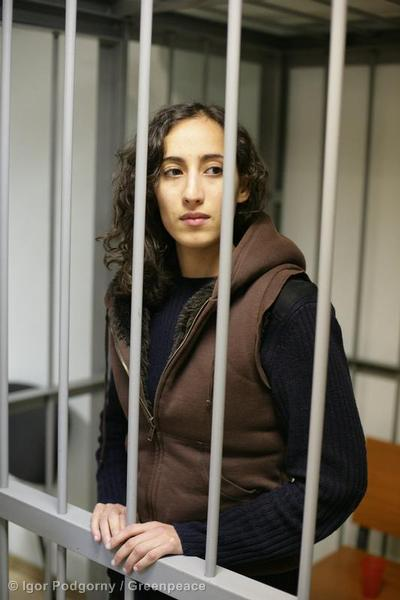 Greenpeace International Campaigner Faiza Oulahsen (from the Netherlands) at the Leninsky District Court Of Murmansk.