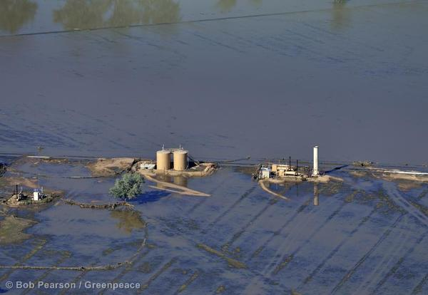 An oil operation remains under water