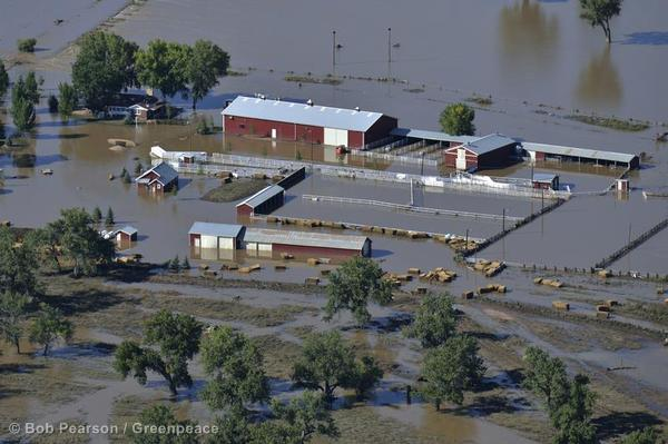 Flood waters cover a large farm on the South Platte River near Greeley