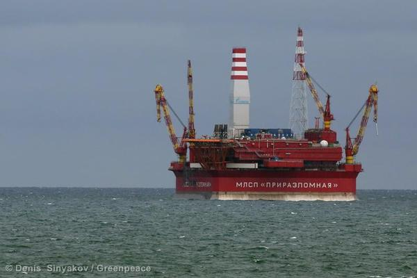 Gazprom Oil Rig in the Barents Sea