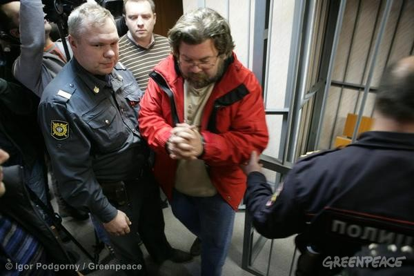 Greenpeace International spokes person Roman Dolgov at the Leninsky District Court Of Murmansk.