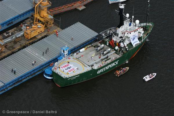 Arctic Sunrise Blocks Discharge of Amazonian Soya