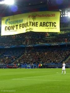 Gazprom Action At Basel Football Stadium, Switzerland.