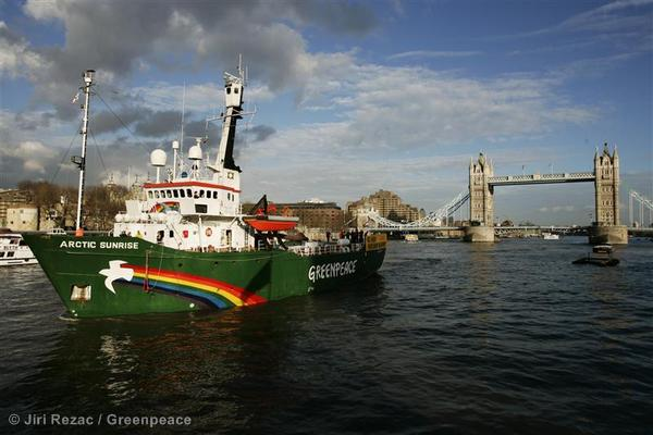 MY Arctic Sunrise arrives in London
