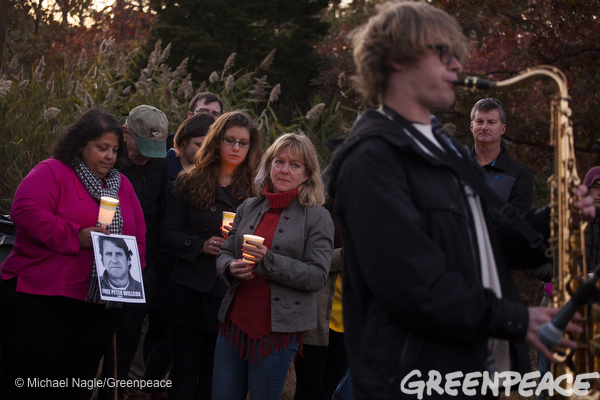 Family members and supporters gather in Norwalk, Conn