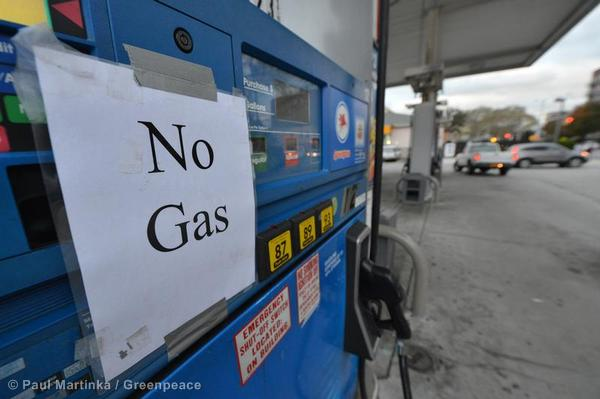 A 'No Gas' sign posted at on Mobil gas station pump in Brooklyn as fuel becomes scarce in the aftermath of Hurricane Sandy