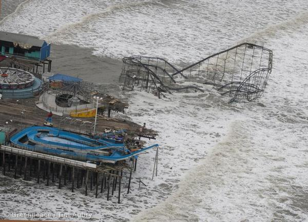 An aerial view of an amusement park in Seaside Heights