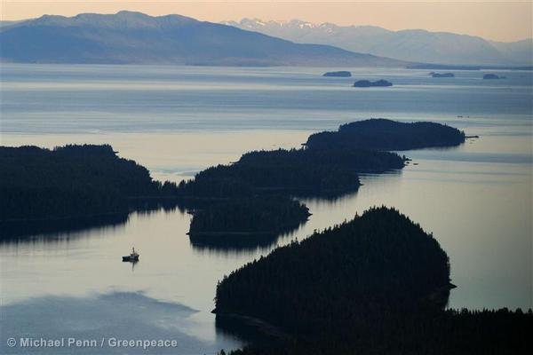 The ship journeys through the Tongass National Forest en route to Juneau, Alaska.