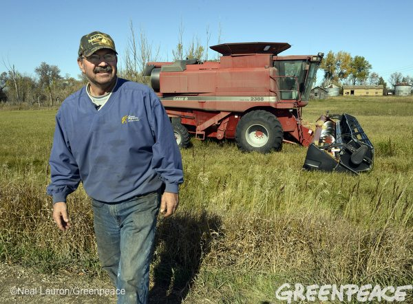 Tiogo, North Dakota farmer Steven Jensen by his combine on October 13, 2103.  Jensen was using the combine to harvest wheat when he discovered a huge oil spill on a section of his farm.