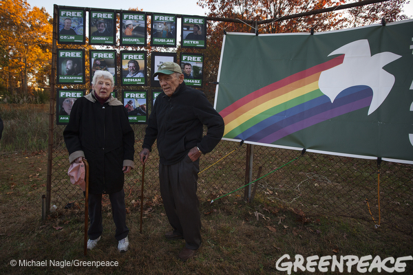 Joan and Roger Willcox attend a vigil in Norwalk, Conn., Oct. 26, 2013, to call for the release of Roger's son Peter Willcox, captain of the Arctic Sunrise
