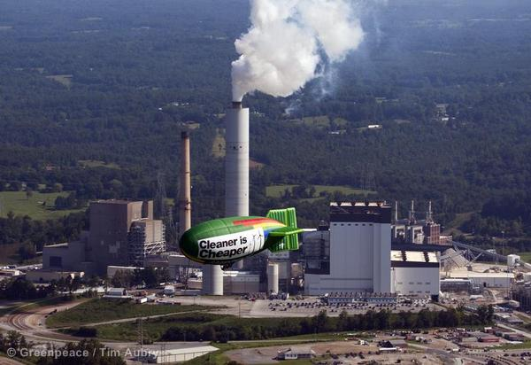 Airship Protests Duke Energy at Cliffside Plant
