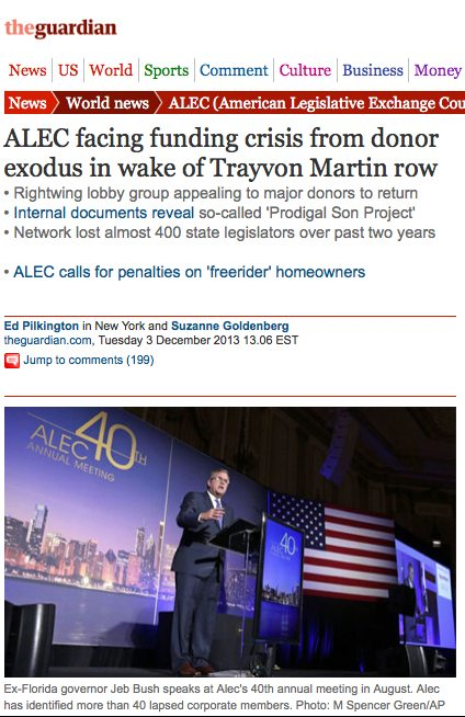 Internal ALEC documents in The Guardian reveal companies that have left ALEC.