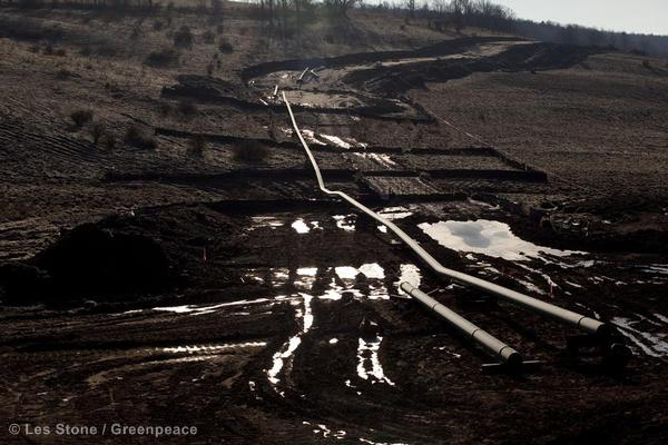 Gas pipeline construction in the Bradford County countryside. In December 2011, the Pittsburgh Tribune-Review reported that the 8,500 miles (29,773 kms) of gas pipeline in Pennsylvania could quadruple over the next 20 years.