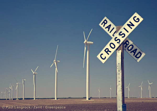Railroad crossing sign at Roscoe Wind Farm in Texas.