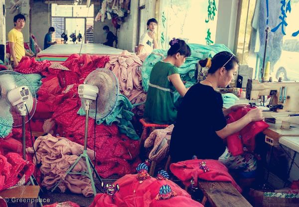 'Little Monsters' in Textile Factory (Photo Illustration)