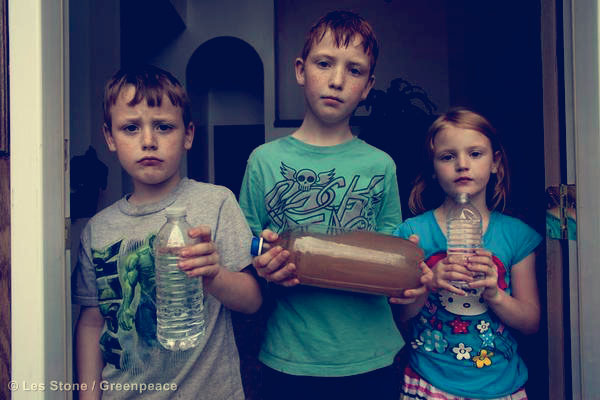 A Pennsylvania family shows their contaminated water supply.