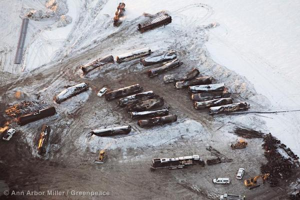 A derailment of a 106-car train carrying oil on December 30 in North Dakota.