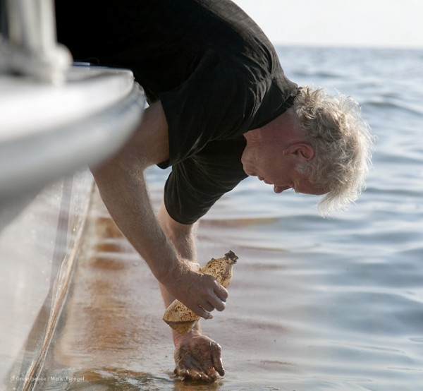 The author collecting water samples in the Gulf of Mexico after the BP Deepwater Horizon spill.