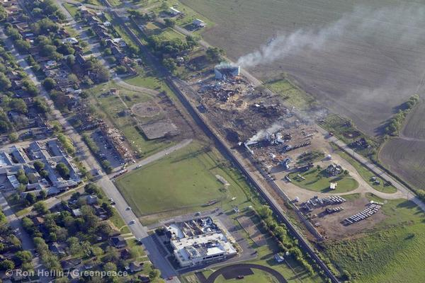 Aerial views of buildings surrounding the fertilizer plant in West, TX. The explosion there killed 14 people including 12 firefighters.