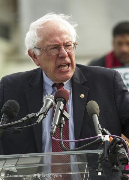 Sen. Bernie Sanders outside the Supreme Court during arguments for McCutcheon v. FEC in October of 2013.