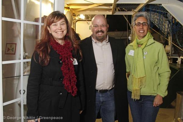Nicky, left, with Phil Radford and Board of Directors Chair Karen Topakian.