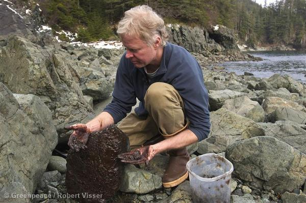 The author finds plenty of Exxon Valdez oil still on the beach in 2004.