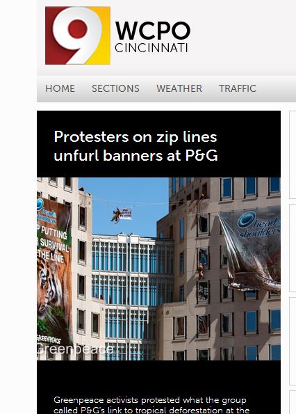 Local news station WCPO features protest on their homepage