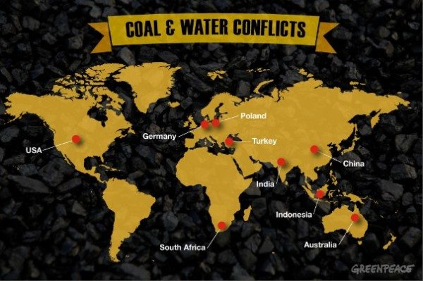Countries where coal expansion overlaps with water scarcity.