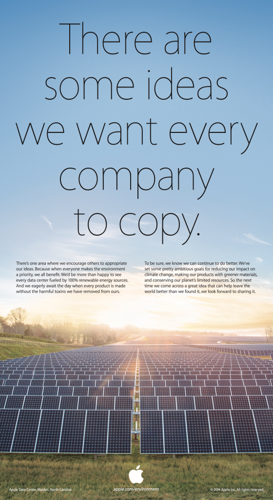 An Apple ad touts the companys solar powered data centers