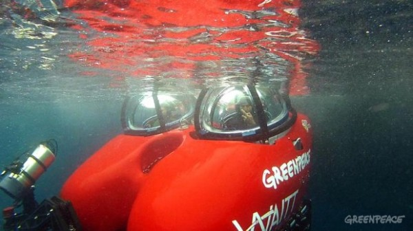 Greenpeace Oceans campaigners John Hocevar and Jackie Dragon get ready to dive in a two-seater submersible craft on loan from the Waitt Institute.
