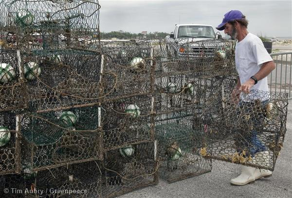 Robert Carr Sr. of Biloxi, stacks the last of their crab traps after bringing them into shore in Gulfport.