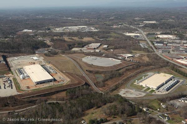 An aerial view of the massive Google data center in Lenoir, NC.