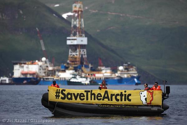 Greenpeace activists protest at Shell drillship 'Noble Discoverer' anchored near Dutch Harbor in Unalaska.