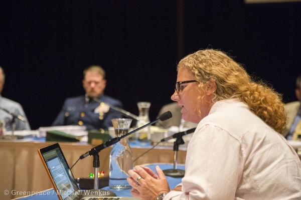 Greenpeace Oceans Campaigner Jackie Dragon testifies at a meeting of the North Pacific Fishery Management Council to urge protection for the Bering Sea Canyons and changes to destructive fishing practices.
