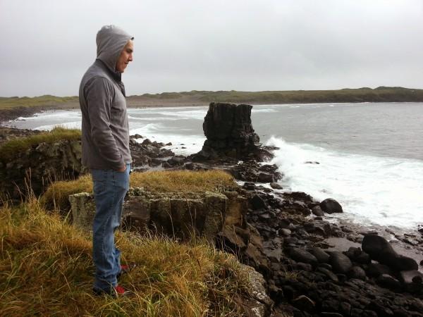 The author's son, George Jr., near their home on St. Paul Island.