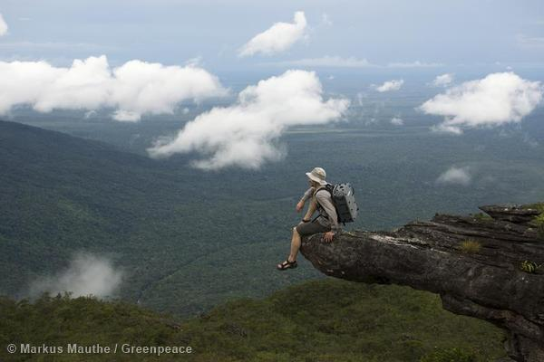 Wide view over the Amazon Rainforest, Rio Negro, Serra de Araca, Brazil.