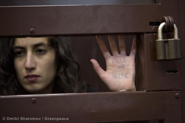 Faiza during her bail hearing at the Murmansk Regional Court, when she was detained as part of the 'Arctic 30.'