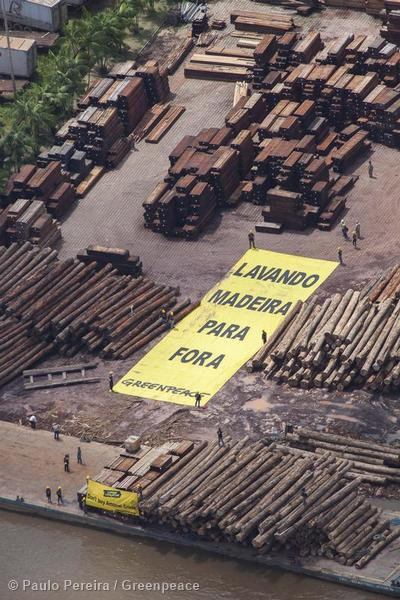 Greenpeace Brazil activists unfurl banners reading (in Portuguese): 'Your Laundered Wood' during a protest  at the Pampa  sawmill nearby the Para state capital, Belem,