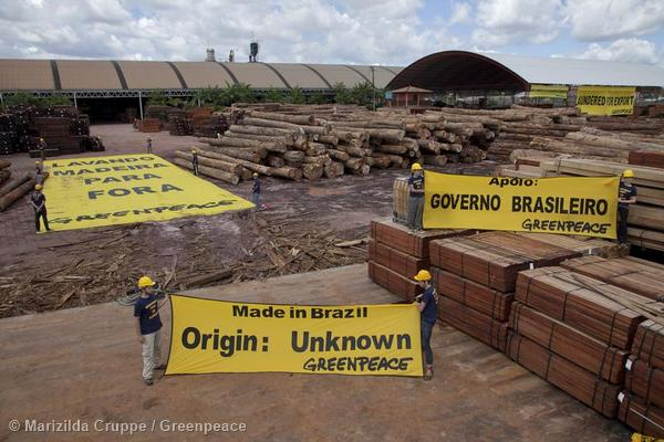 Greenpeace Brazil activists protest  at the Pampa sawmill nearby the Para state capital, Belem, which has been associated with illegalities in the timber sector and linked with the US timber market.